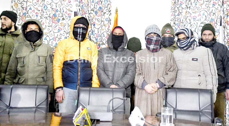 Arrested members of JeM module in Srinagar on Thursday. -Excelsior/Shakeel