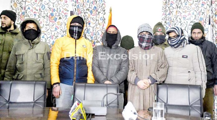 Arrested members of JeM module in Srinagar on Thursday. -Excelsior/Shakeel