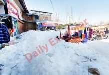 Unattended snow lying on a link road in Handwara in North Kashmir. — Excelsior/Aabid Nabi