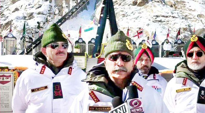 Army chief Gen Manoj Mukund Naravane at Siachen Glacier on Thursday.