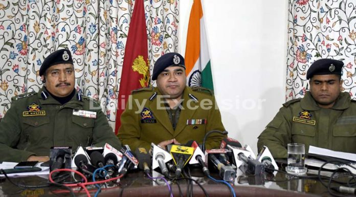 DIG V K Birdri addressing a press conference in Srinagar on Thursday.Excelsior/Shakeel