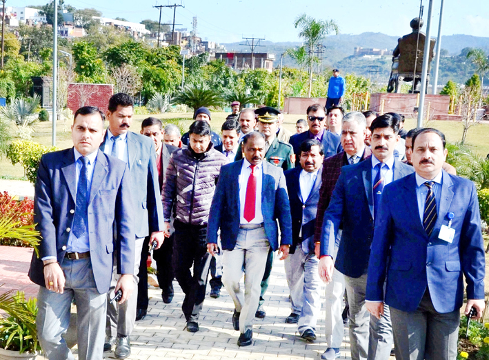 Lieutenant Governor Girish Chandra Murmu during tour of Jammu City on Friday. -Excelsior/Rakesh