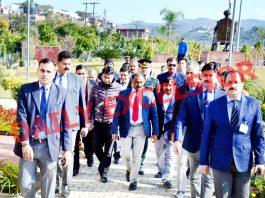 Lieutenant Governor Girish Chandra Murmu during tour of Jammu City on Friday. -Excelsior/Rakesh