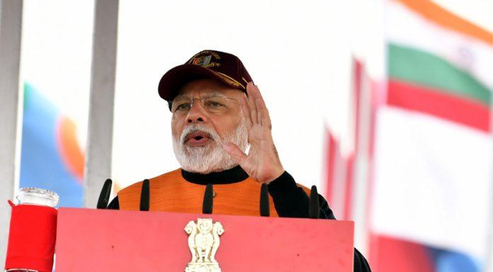 Prime Minister Narendra Modi addressing the NCC cadets in New Delhi on Tuesday.