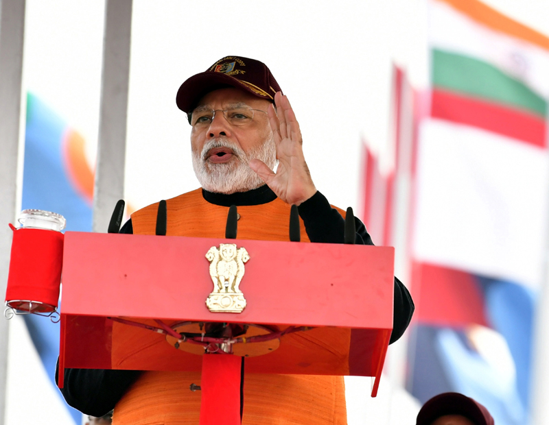 Prime Minister Narendra Modi addressing the NCC cadets in New Delhi on Tuesday.