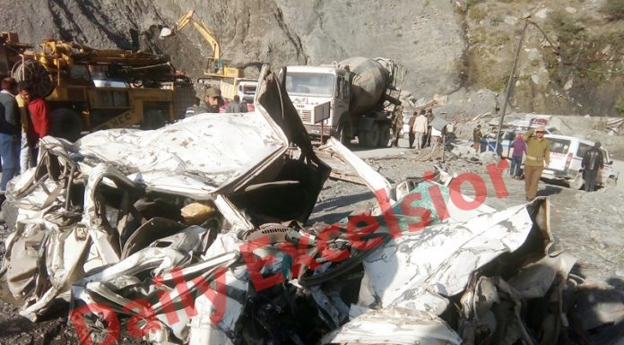 Wreckage of Bolero vehicle which was buried under landslides near Ramban on Sunday. — Excelsior/Parvaiz Mir