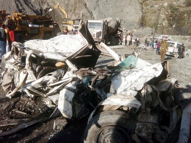 Wreckage of Bolero vehicle which was buried under landslides near Ramban on Sunday. — Excelsior/Parvaiz Mir