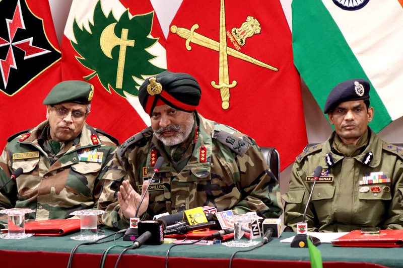 Joint press conference by Army, Police and CRPF officers in Srinagar. -Excelsior/Shakeel