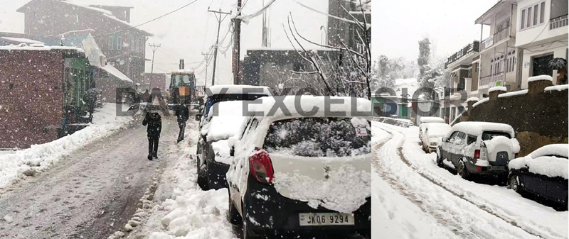 Bhaderwah (left) and Latti towns of Jammu region (Right) experience heavy snowfall on Tuesday.  -Excelsior pics by Tilak Raj & K Kumar
