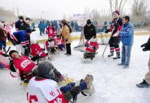 Physically challenged people playing Sledge Ice Hockey at Leh. -Excelsior/ Morup Stanzin