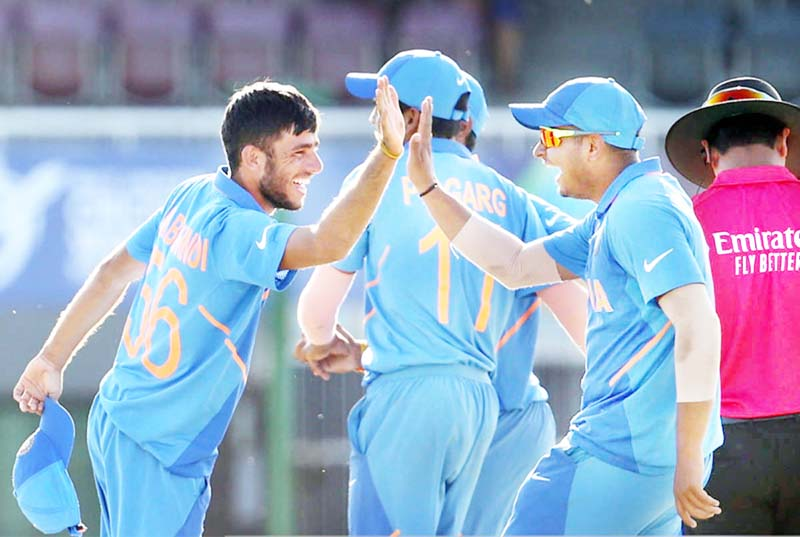 Indian players celebrating victory against Australia during U-19 World Cup at Portchefstroom in South Affrica.