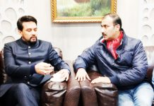Union Minister Anurag Thakur and BCCI member Ranjit Kalra during interaction at Jammu on Sunday.