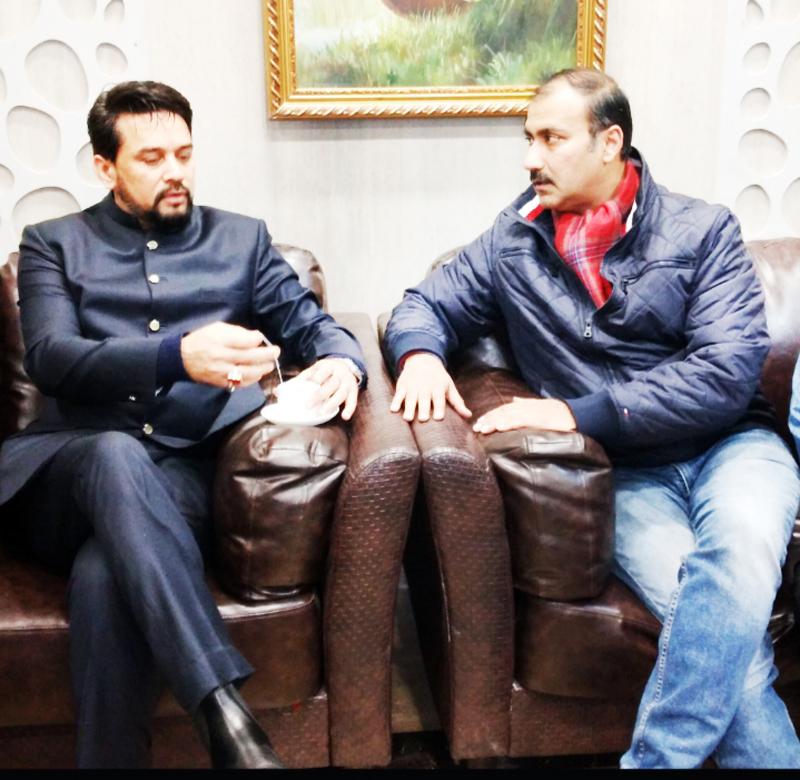 Union Minister Anurag Thakur and BCCI member Ranjit Kalra during interaction at Jammu on Sunday.