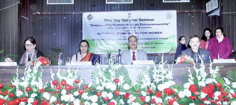 JU VC and others on dair during a seminar on women entrepreneurship at Jammu University on Wednesday.