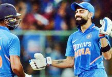 Skipper Virat Kohli congratulating Rohit Sharma on completing century against Australia.