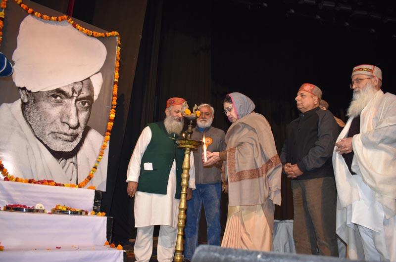 Dignitaries lighting the lamp at Abhinav Theatre, Jammu during release of documentary on Bhagawan Gopinath ji on Friday.