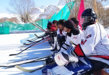 Ice Hockey players ready to go at Leh on Monday. -Excelsior/Basharat Ladakhi.