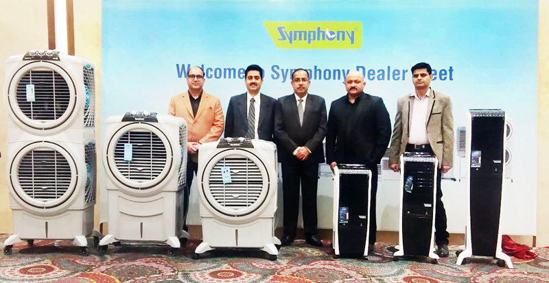 Dignitaries along with Dealers of the Symphony launching new models of coolers in Jammu.