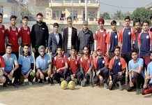 Netball teams posing along with dignitaries and officials in Jammu on Monday.