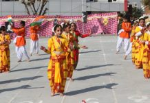 Students presenting a cultural item while celebrating Sports Day at RM Public School on Friday.