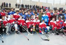 Top Ice Hockey players posing along with dignitaries and officials in Leh on Wednesday. -Excelsior/Morup Stanzin