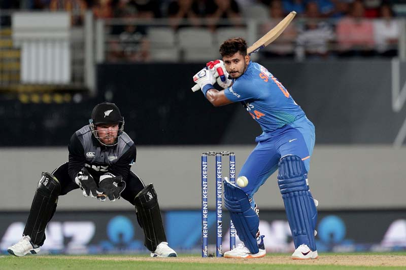 Shreyas Iyer executing a shot during his knock of 58 runs against New Zealand in first Twenty20 in Auckland.