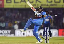 Virat Kohli hitting Lasit Malinga for a six during his a knock of 30 rsuns against Sri Lanka in Indore in Tuesday.