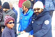 Certificate distribution during the concluding ceremony of Ice Hockey Camp in Kargil.-Excelsior/Bashrat Ladakhi