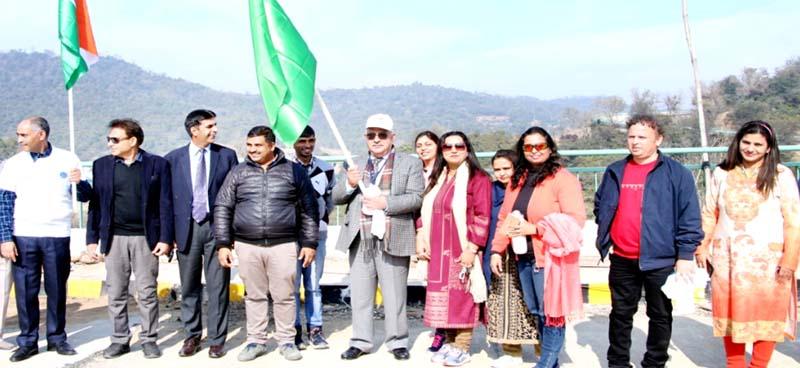 Vice Chancellor CUJ Ashok Aima flagging off Marathon on Saturday.