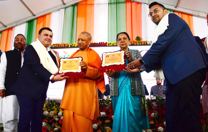Directors of Goldi Group being honoured by UP CM Yogi Adityanath and the State Governor, Anandi Patel at a function in Lucknow.