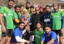 Winners of the Kabaddi event, Kohli Club receiving title trophy at Chandak in Poonch.
