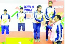 Winner of Boxing competition along with Farhana Eliyas posing for a group photograph in 3rd Khelo India Youth Games, 2020 held recently at Guwahati.