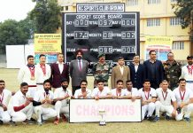 Winners Tiger Artillery Brigade team posing along with chief guest and other dignitaries at KC Sports Club in Jammu.