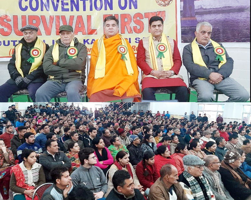 BJP president, Ravinder Raina and K P leaders at YAIKS convention at Jammu on Sunday.