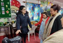 Director General, SWD Rehana Batul during visit to Bal Ashram in Udhampur on Friday.