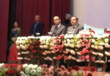 Union Minister Ashwini Kumar Choubey addressing the gathering during AB-PMJAY function in Jammu on Saturday.