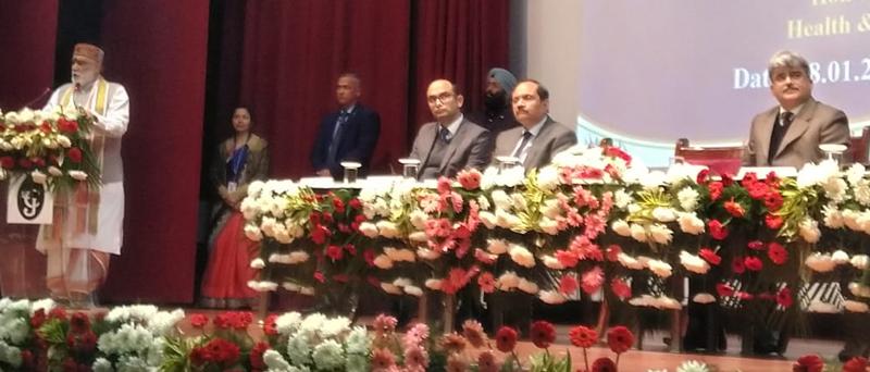 Union Minister Ashwini Kumar Choubey addressing the gathering during AB-PMJAY function in Jammu on Saturday.