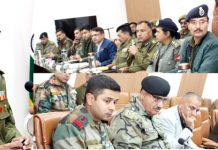 IGP Jammu Zone Mukesh Singh chairing a meeting on Monday.