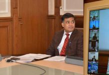 Chief Secretary BVR Subrahmanyam participating in PM's video conference.