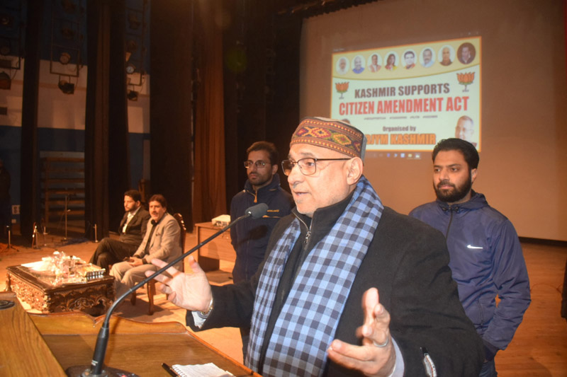 BJP leader Avinash Rai Khanna addressing a programme on CAA at Srinagar -Excelsior/Shakeel