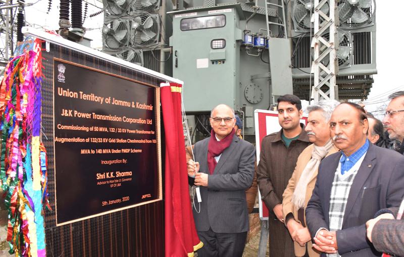 Advisor K K Sharma inaugurating Cheshmashahi Grid Station in Srinagar on Sunday.