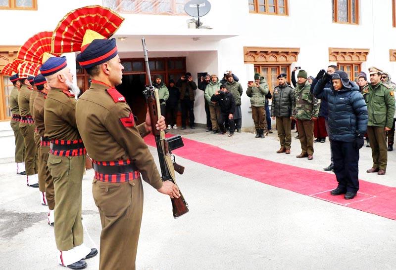 Police personnel presenting guard of honour to LG RK Mathur at Diskit in Leh.