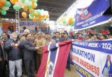 Advisor to Lieutenant Governor, Rajeev Rai Bhatnagar flagging off a Walkathon from Gulshan Ground Jammu on Saturday. -Excelsior/Rakesh