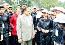 Union Minister Dr Jitendra Singh in an informal interaction with a group of students from Jammu & Kashmir, at his residence in New Delhi on Monday.