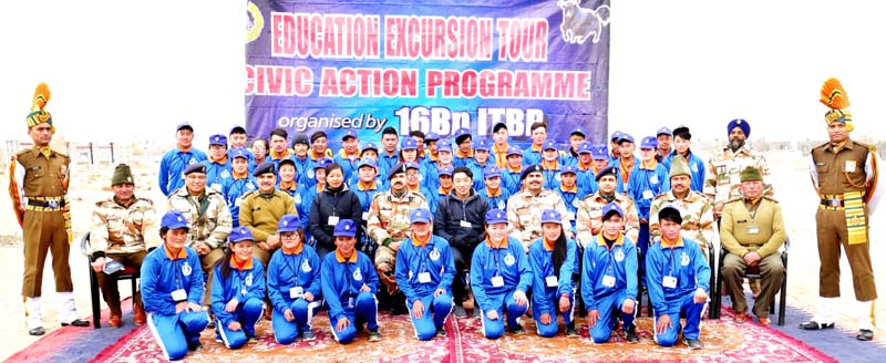 Students and ITBP officers posing for group photograph at Leh on Monday.