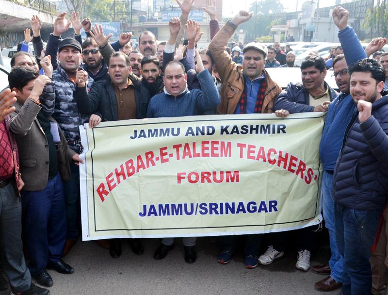 Members of ReT Forum protesting against IGNOU authorities.— Excelsior/Rakesh