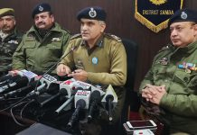 SSP Samba Shakti Pathak alongwith other police officers addressing press conference on Saturday. —Excelsior/Badyal