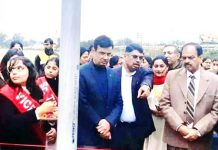 PCB chairman Suresh Chugh inaugurating sanitary waste disposer unit at Women College Gandhi Nagar in Jammu on Tuesday.