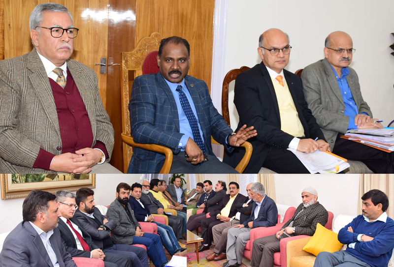 Lieutenant Governor, Advisors and Chief Secretary interacting with a delegation in Jammu on Thursday.