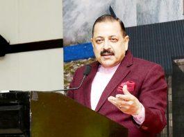 Union Minister Dr Jitendra Singh addressing a gathering in New Delhi.